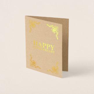 Aniversário feliz cartão metalizado