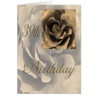 Aniversário feliz do rosa do Sepia 39th Cartão