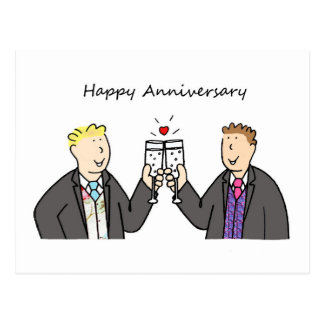Aniversário feliz Funky para dois homens alegres Cartão Postal