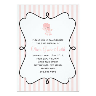 Aniversário francês cor-de-rosa da caniche convite 12.7 x 17.78cm