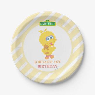 Aniversário grande do pássaro do bebê prato de papel
