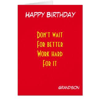 aniversário inspirador do neto cartão comemorativo