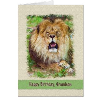 Aniversário, leão do neto cartão comemorativo