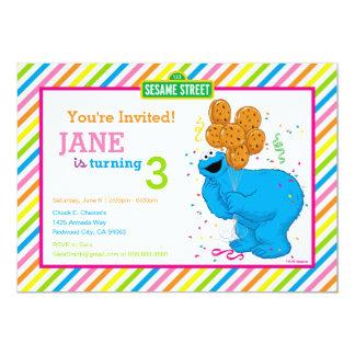 Aniversário listrado do monstro do biscoito convite 12.7 x 17.78cm