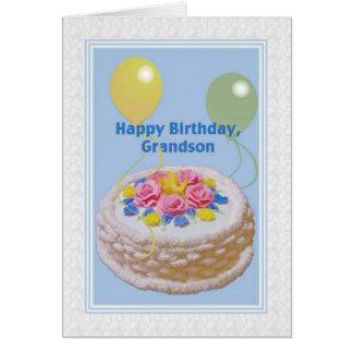 Aniversário, neto, bolo e balões cartão comemorativo