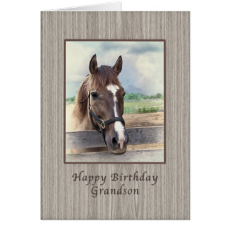 Aniversário, neto, cavalo de Brown com freio Cartão Comemorativo