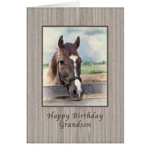 Aniversário, neto, cavalo de Brown com freio Cartoes