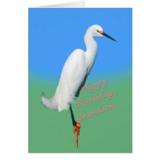 Aniversário, neto, Egret nevado em um membro Cartão Comemorativo