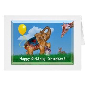 Aniversário, neto, elefante, girafa cartão comemorativo
