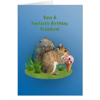 Aniversário, neto, esquilo com cone do sorvete cartão comemorativo