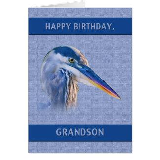 Aniversário, neto, garça-real de grande azul cartão comemorativo