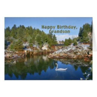 Aniversário, neto, lago mountain, cisne, cartão