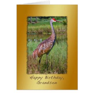 Aniversário, neto, pássaro do guindaste de cartão comemorativo
