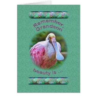 Aniversário neto pássaro do Spoonbill róseo Cartão