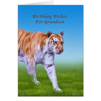 Aniversário, neto, passeio do tigre cartão comemorativo