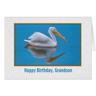 Aniversário, neto, pelicano branco cartão comemorativo