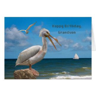 Aniversário, neto, pelicano branco em uma rocha cartão comemorativo