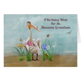 Aniversário, neto, pelicano, flores cartão comemorativo