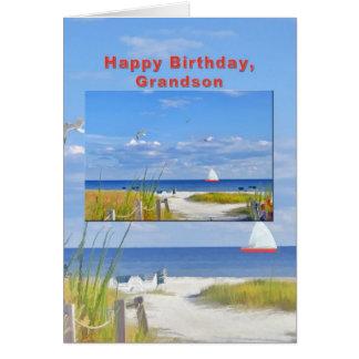 Aniversário, neto, praia e cartão da vista para o