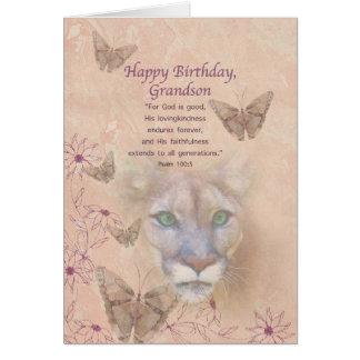 Aniversário, neto, puma e borboletas cartão comemorativo