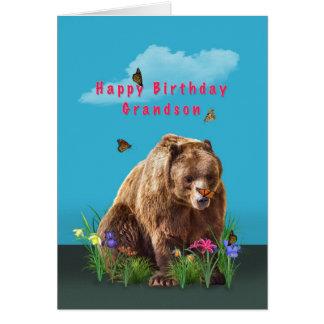Aniversário, neto, urso e borboletas cartão comemorativo