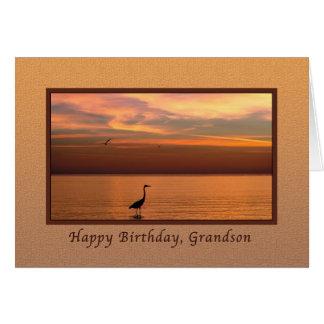 Aniversário, neto, vista para o mar no por do sol cartoes