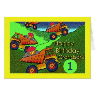 Aniversário para o neto, camiões basculantes com cartão comemorativo