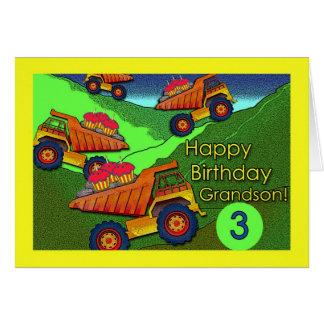 Aniversário para o neto, os camiões basculantes e  cartão