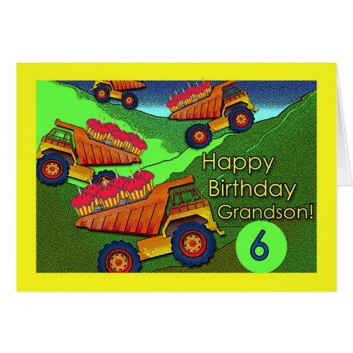 Aniversário para o neto, os camiões basculantes e  cartões