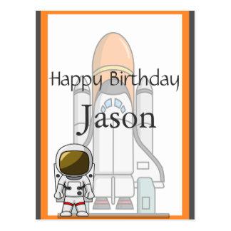 Aniversário pequeno do astronauta & da nave cartão postal