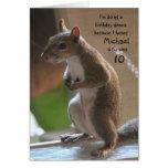 Aniversário personalizado do nome/idade, esquilo d cartão