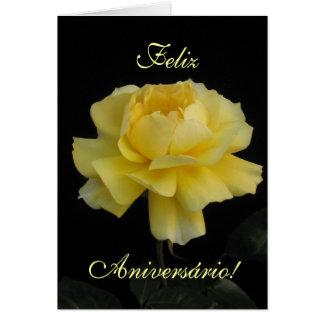 Aniversário português: Seu Aniversario de Rosa Cartão Comemorativo