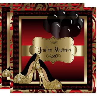 Aniversário |Red & convite dos saltos altos do