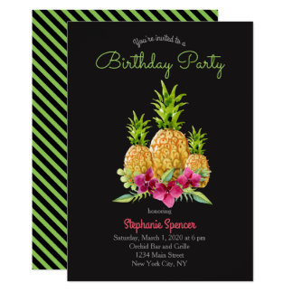 Aniversário tropical das samambaias das orquídeas convite 12.7 x 17.78cm