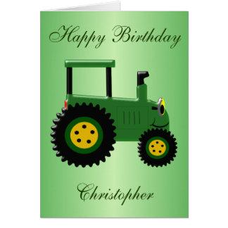 Aniversário verde personalizado do trator cartão comemorativo