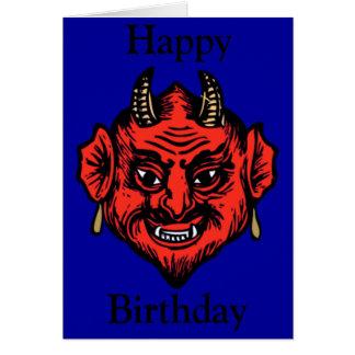 Aniversário vermelho Horned da cara do diabo da Cartão Comemorativo