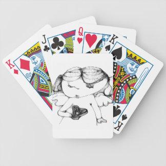 Anjo com coração baralhos para pôquer