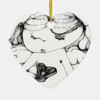 Anjo com coração enfeites para arvores de natal
