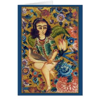 Anjo com o cartão islâmico da arte do pássaro