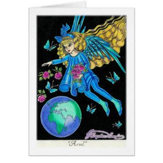 """Anjo com rosas """"Ariel """" Cartão Comemorativo"""
