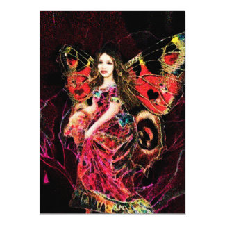 Anjo da borboleta do coração convite 12.7 x 17.78cm
