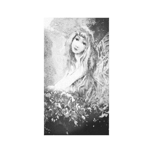 Anjo-da-guarda em preto e branco impressão de canvas envolvida