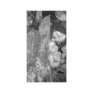 Anjo-da-guarda em preto e branco impressão em canvas