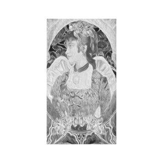 Anjo-da-guarda em preto e branco impressão de canvas esticada