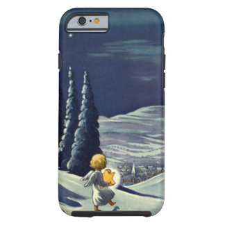 Anjo da neve do natal vintage que anda com uma capa tough para iPhone 6