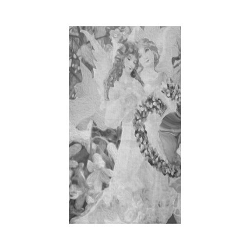 Anjo em preto e branco com flores impressão de canvas envolvida