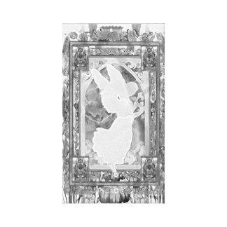 Anjo em preto e branco com flores impressão em tela canvas
