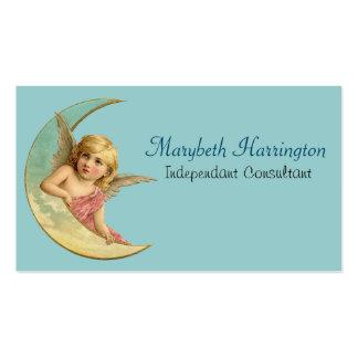 Anjo em uma imagem crescente do vintage da lua cartão de visita