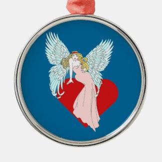 Anjo Faithless Ornamento Redondo Cor Prata