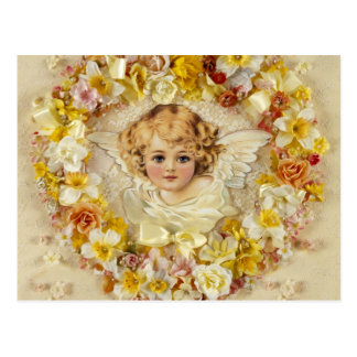 Anjo floral em um coração cartão postal